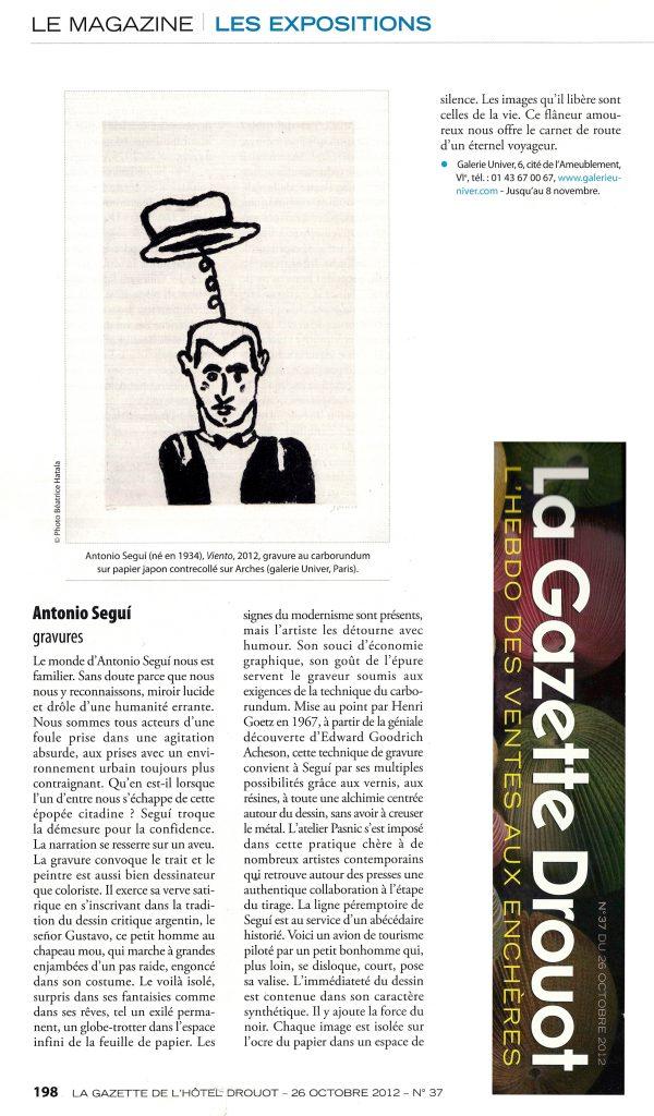 Gazette de l'Hôtel Drouot, octobre 2012