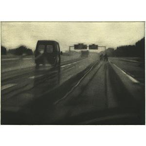 Autoroute VI, 2008. Manière noire sur chine collé, 15 x 21 cm