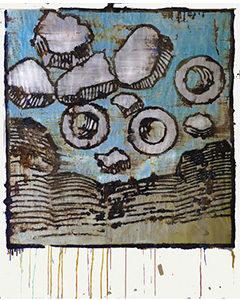 Hortus Sanitatis, 2015. Bitume, techniques mixtes sur papier, 120 x 160 cm.