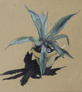 Claude Buraglio, Aloé, 2018. Peinture à l'huile sur papier recyclé, 49 cm x 39,5 cm.