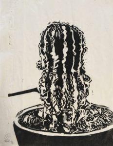 Claude Buraglio, Coussin dbm Série #2, 2018. Linogravure sur papier recyclé, 24 cm x 30 cm
