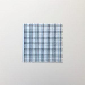 184 lignes – 92 bleues, 40x40cm, crayon bleu et graphite sur Lavis Vinci 450g, 2018