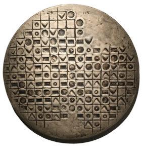 L'empire du signe XV, 60 cm de diamètre, mortier de sable, acrylique et pigments sur bois, 2019