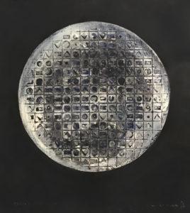 L'Empire du signe ES 11 C16, 84 x 78cm, pigments et acrylique sur aquagravure, papier à la cuve, 2019