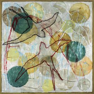 """Monique TELLO, """"carré-oiseau"""", acrylique sur toile, fusain, 129 x 129 cm, 2021."""