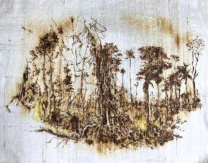 Amazonia, 2020. Pyrogravure et décapeur thermique sur soie sauvage, broderie, 55 x 42 cm.