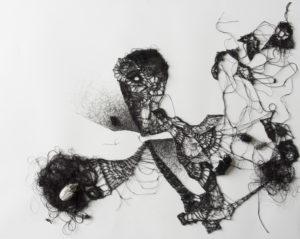 Dentelle #1, 2018. Encre, fil de soie crocheté, insectes naturalisés, sous vitrine, 50 x 40 cm.