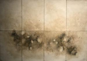 Les pierres du chemin, 2017. Huile, pigments et graphite, 42 x 60 cm.