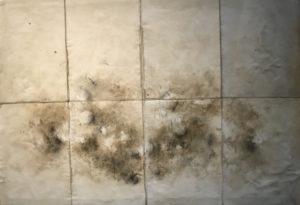 Les pierres du chemin, 2017. Huile, pigments et graphite, 43,5 x 60 cm.