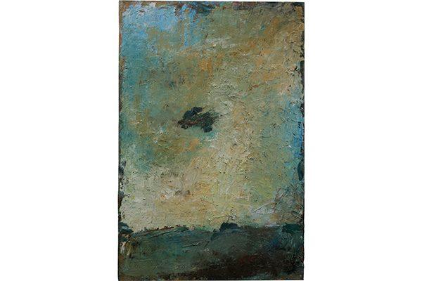 « Paysage à la tache dans le ciel », 2017. Huile sur bois, 171 x 114 cm.