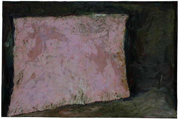 « Toile rose oblique dans un lieu », huile et tissu sur toile, 97 x 146 cm, 2019.