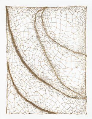 """Marinette CUECO, """"Juncus capitatus"""", 2016. Entrelacs, 80 x 60 cm."""