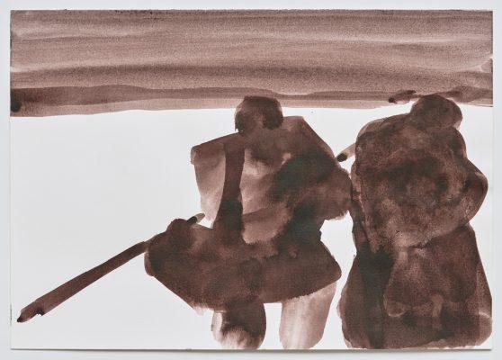 « Contre jour », 2021. Bistre, 29,7 x 42 cm