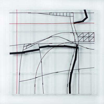 "Francis LIMERAT, ""PRAVALON"", 2019. Bois peint, 98 x 98 cm."