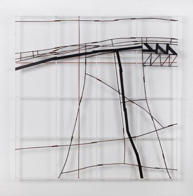 """""""SERENDA"""", 2017. Bois et cartons peints, 100 x 100 cm."""