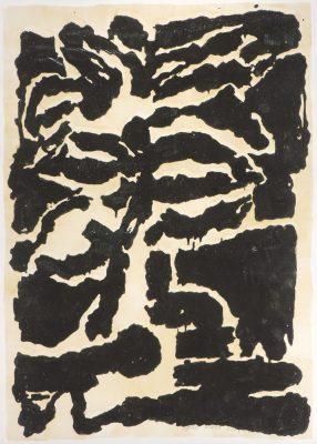 Gravure réhaussée, pâte à modeler sur papier,  159 x 120 cm.