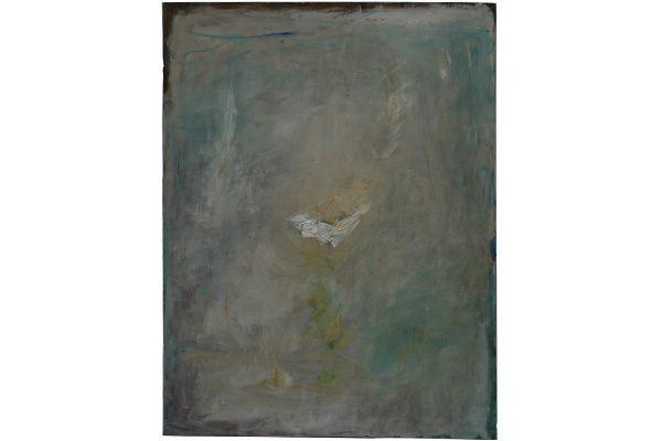 « Oiseau blanc dans un ciel clair », 2017. Huile sur toile, 116 x 89 cm.