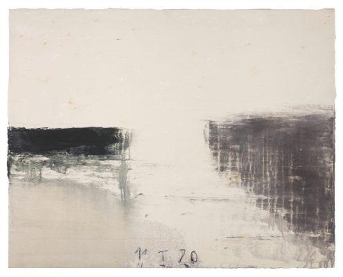 « La jetée du 11.1.20  » , 2020. Acrylique et pigments, 73 x 92 cm. .
