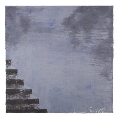 Jean Pierre Schneider,  « Le quai du 25 nov 19 » , 2019. Acrylique et pigments, 150 x 150 cm.