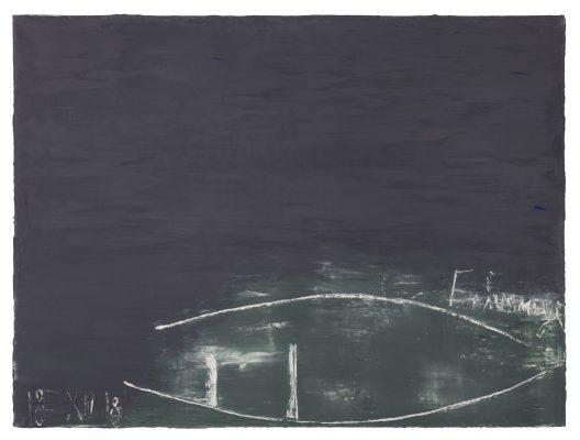 Jean Pierre Schneider,  « Échouage, le 18 XII 2018 » , 2018. Acrylique et pigments, 97 x 130 cm.