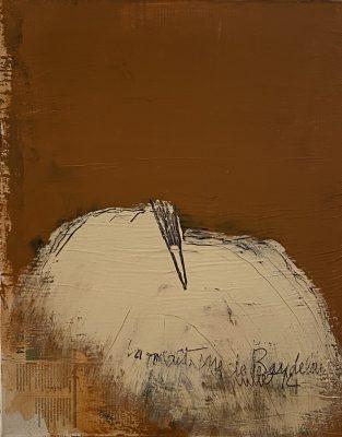 Jean Pierre SCHNEIDER, « La maîtresse de Baudelaire - juillet 14 », 2014. Technique mixte, 50 x 40 cm.