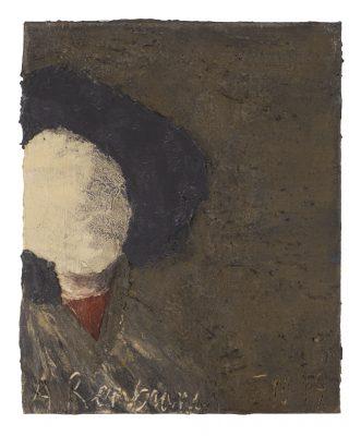 Jean Pierre SCHNEIDER, A REMBRANDT LE 15.10.19. 2019Huile sur papier, 43 x 33 cm.