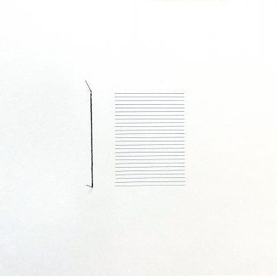 """Laurent SELMES, """" Stèles """", 2016. Graphite et couture sur papier, 30 x 30 cm"""