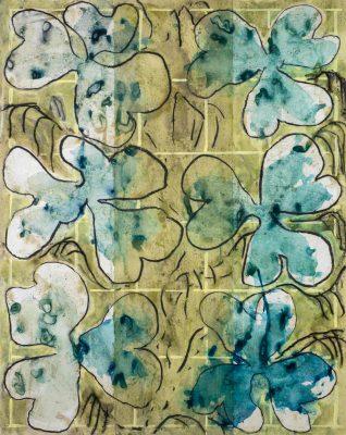Sans Titre , 2020. Acrylique, craie, encre sur papier , 130 x 100 cm