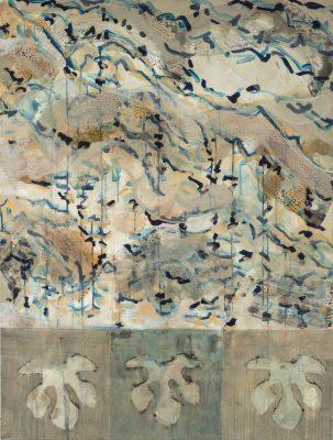 Monique TELLO, Un volcan lointain, diptyque, 2019. Acrylique sur toile, 126 x 95 cm.