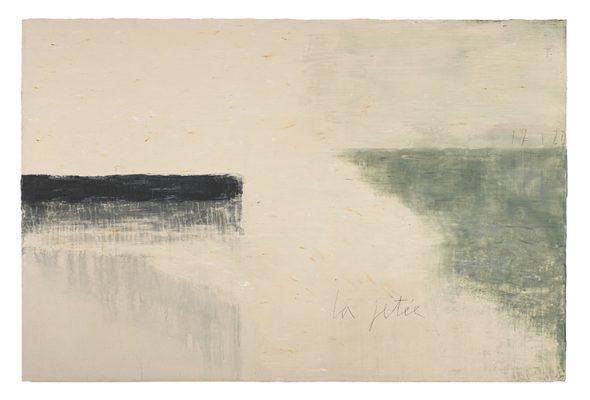 Jean Pierre Schneider,  « La jetée du 17.1.20 » , 2020. Acrylique et pigments, 130 x 195 cm.