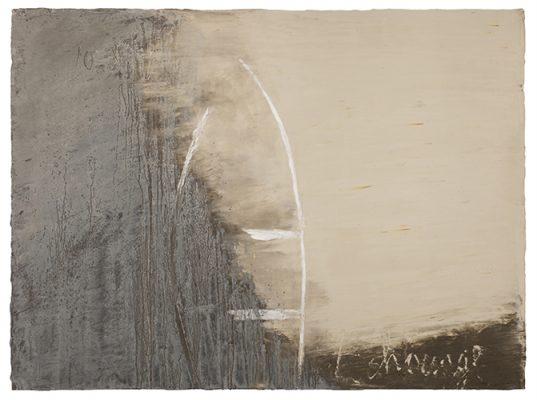 Jean Pierre Schneider,  « Échouage du 23 mars 2019 » , 2019. Acrylique et pigments, 97 x 130 cm.