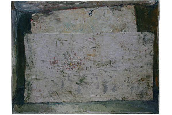 « Double toile blanche dans un lieu », 2019. Huile et tissu sur toile, 89 x 116 cm.